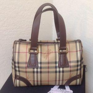 Burberry Check Classic Boston Leather Pvc Satchel